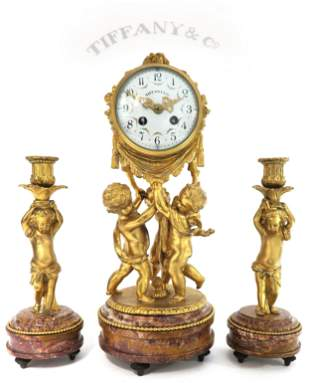 19th C. Tiffany & Co. Figural Bronze & Rouge Marble