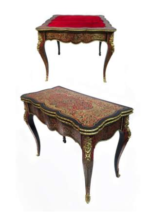 19th C. French Boulle Figural Bronze Mounted Game Table