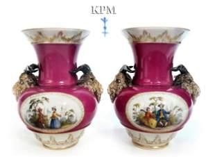 Pair Of Figural Berlin KPM Vases
