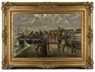"""Van Hommel """"Ocean Dock"""" Oil on Board, 19th C."""