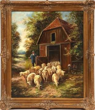 "Hans Riedmann (1913-1991) ""Shepherd"" Oil on Canvas"