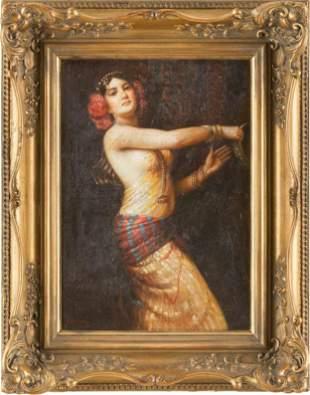 ETIENNE Act. Orientalist Oil on Canvas of Dancer, C.