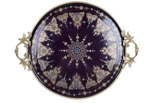 Large Sevres Style Brounze Mounted Porcelain Tray