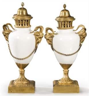 Pair of 19th C. Louis XVI Gilt Bronze & Porcelain Ram