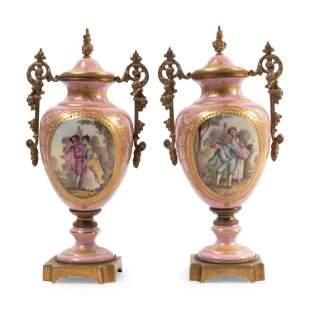 Pair of Sevres Porcelain & Bronze Lidded Urns