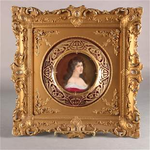 19th C. Royal Vienna Plate in Giltwood Ornate Frame