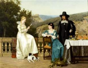 """Paul Preyer (German,1847-1931) """"The Reader"""" Oil on"""