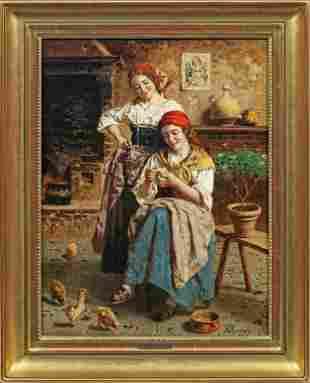 "Eugenio Zampighi (Italian 1859-1944) ""Farmhouse"" Oil on"