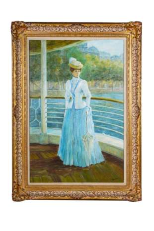 Late 19th C. Oil on Canvas of Victorian Woman Signed
