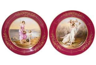 Pair of 19th C. Royal Vienna Mythological Cabinet