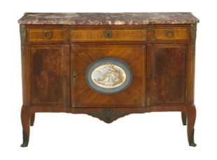 Late 19th C. Louis XVI Style Ormolu mounted Marble top