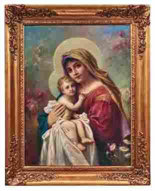 "Hans Zatzka (Austria, 1859-49) Oil on Canvas ""Madonna"