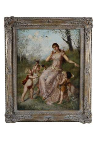 "Anton Tesler (German), 19th C. ""Spring"" Oil on Canvas"