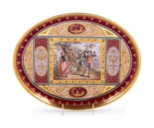 19th C. Royal Vienna Painted and Parcel Gilt Porcelain