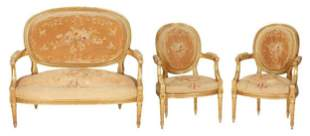 Late 19th C. Louis XVI Style Gilt Carved Settee & 2 Arm