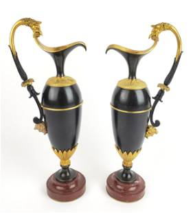 Pair of 19th C. Empire Gilt Bronze & Marble Urns