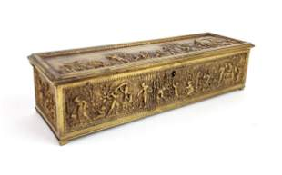 19th C. French Bronze Engraved Figural Box