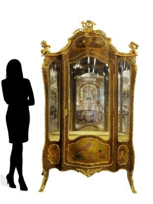 19th C Louis XV French Vernis Martin Figural Bronze