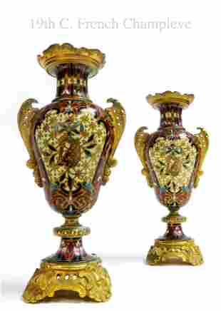 Pair of 19th C. French Champleve Enamel Vases