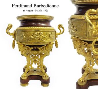 19th C Ormolu-Mounted and Gilt Bronze Rouge Griotte