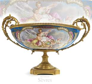 Large 19th C. French Sevres Porcelain Gilt Bronze