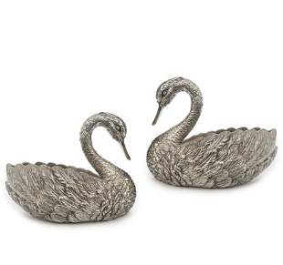 Pair of Cast Silver Plated Swan Planter