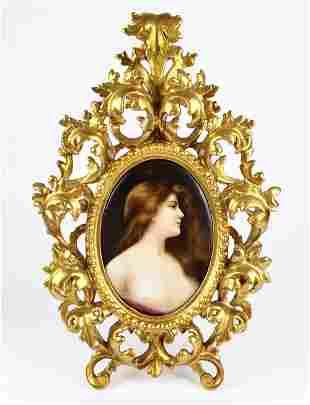 Exquisite 19th C. KPM Plaque of Woman