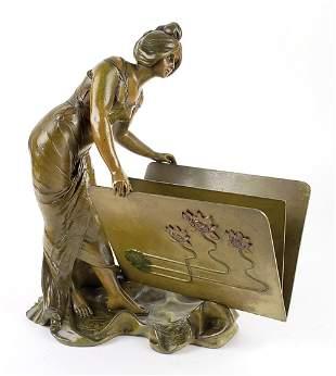 Magnificent Art Deco Bronze Figure of Woman w/ Book