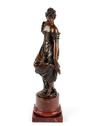 19th C. Bronze & Rouge Marble Figure of Woman Signed
