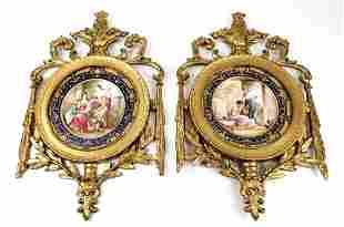 Pair of Magnificent 19th C. Framed Sevres Porcelain