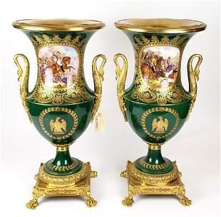 Magnificent Large Pair of 19th C. Sevres Porcelain Urns