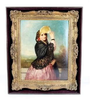 19th C. Oil on Board of Woman w/ Fan