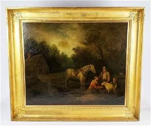 """18th C. George Morland Signed Oil on Canvas """"Farm"""