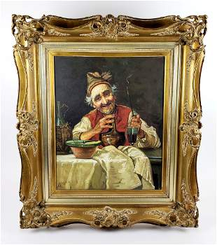 """19th C. Oil on Canvas """"Man with Oil"""" Signed HSE"""