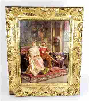 """19th C. F. Soulacroix Signed Oil on Canvas """"Love Song"""""""