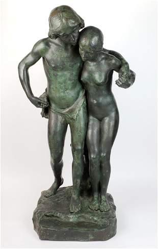 """19th C. Bronze Statue """"Paul & Virginia"""", Signed J."""