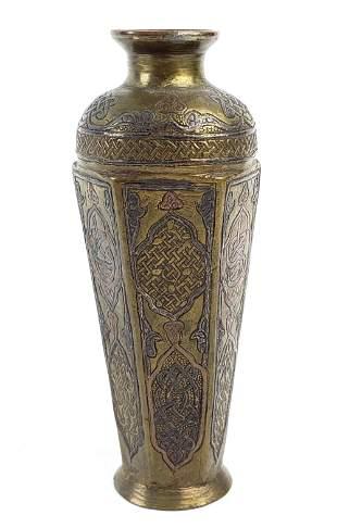 Persian Bronze Engraved Damascus Vase