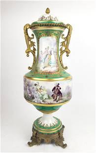 Large 19th C. Sevres Porcelain & Bronze Urn