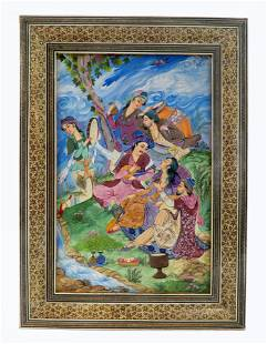 Large Persian Isfahan Miniature Painting by Mehr Circa