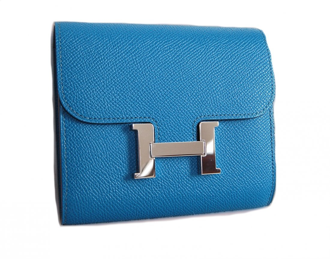 Hermes Blue Hydra Evercolor Leather Constance Compact