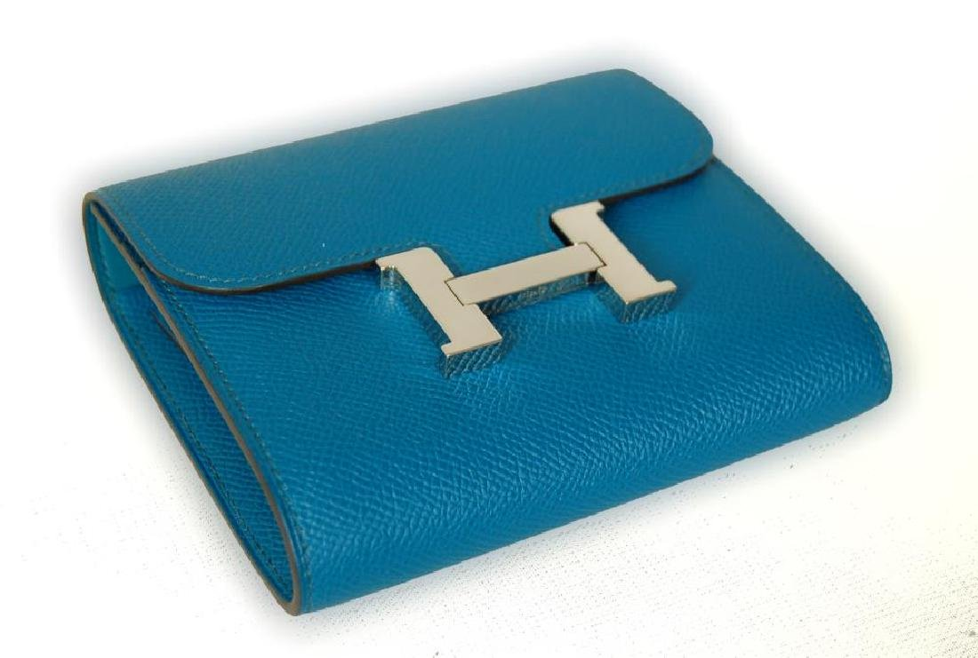 Hermes Blue Hydra Evercolor Leather Constance Compact - 3