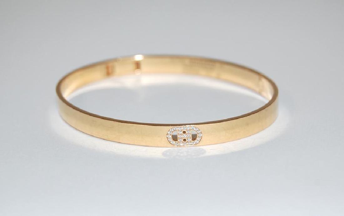 Hermes d'Ancre Bracelet, 18k Yellow Gold, Diamonds,