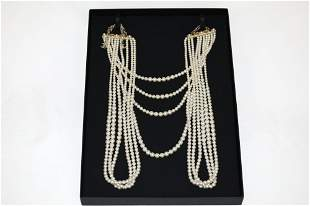 CHANEL Large 10 Strand Pearl Necklace