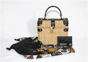 DOLCE GABBANA Wicker Shoulder Bag