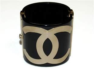 CHANEL Black and Gold CC Cuff