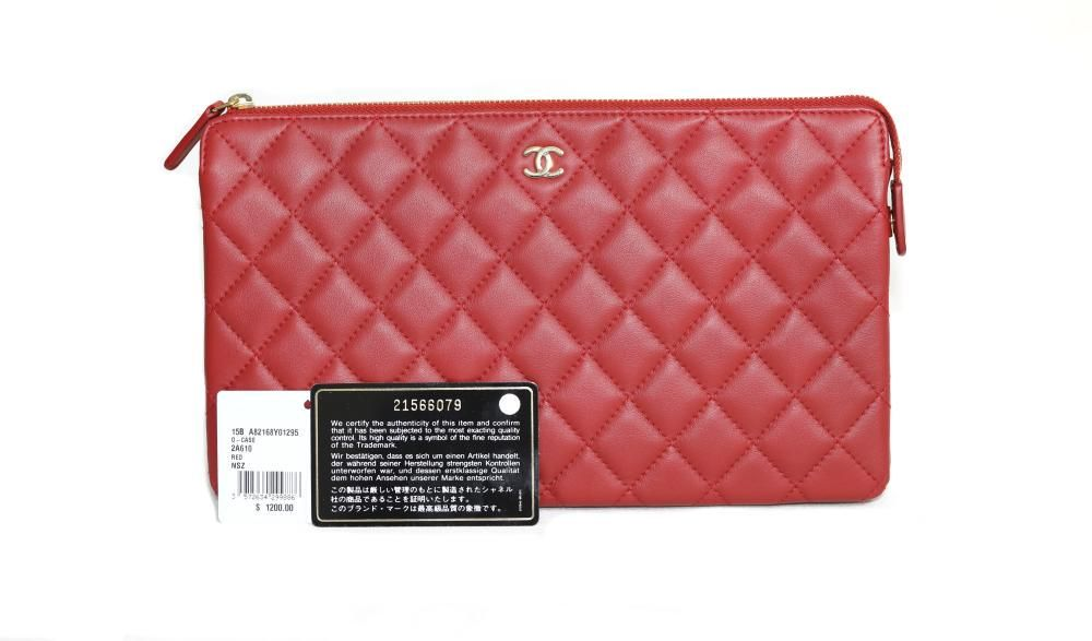 CHANEL Red Leather Quilted O-Case
