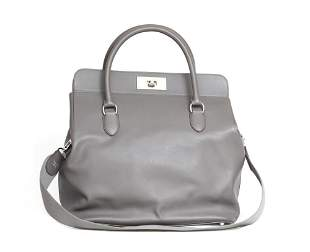 HERMES Evergrain Leather Large Oxer Gris Perle in Grey