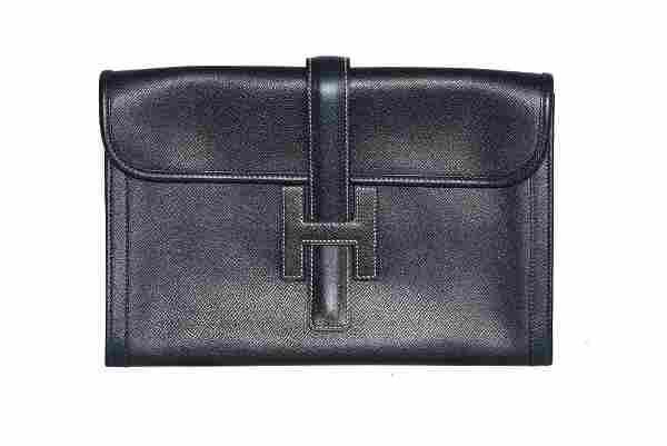 HERMES JIGE ELAN 29 Leather Clutch in Black