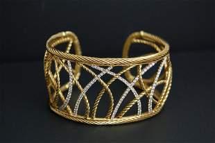 DAVID YURMAN Lattice Cuff 18k Gold Diamonds