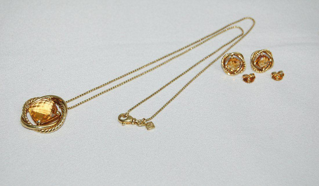 DAVID YURMAN 18k Necklace Infinity Citrine Set